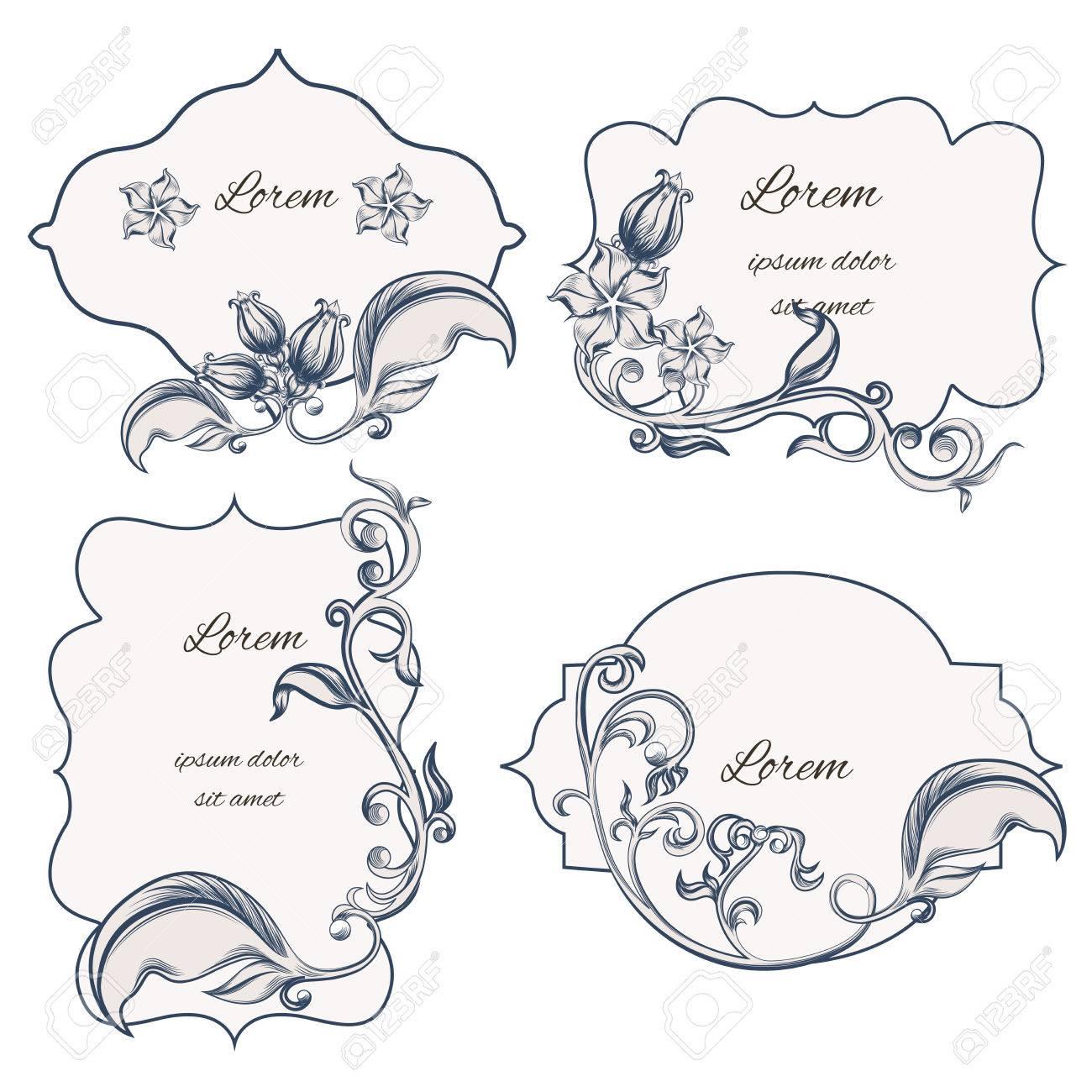 花の飾り枠とバロック様式のパターンを使用して ラベルのセット 活版