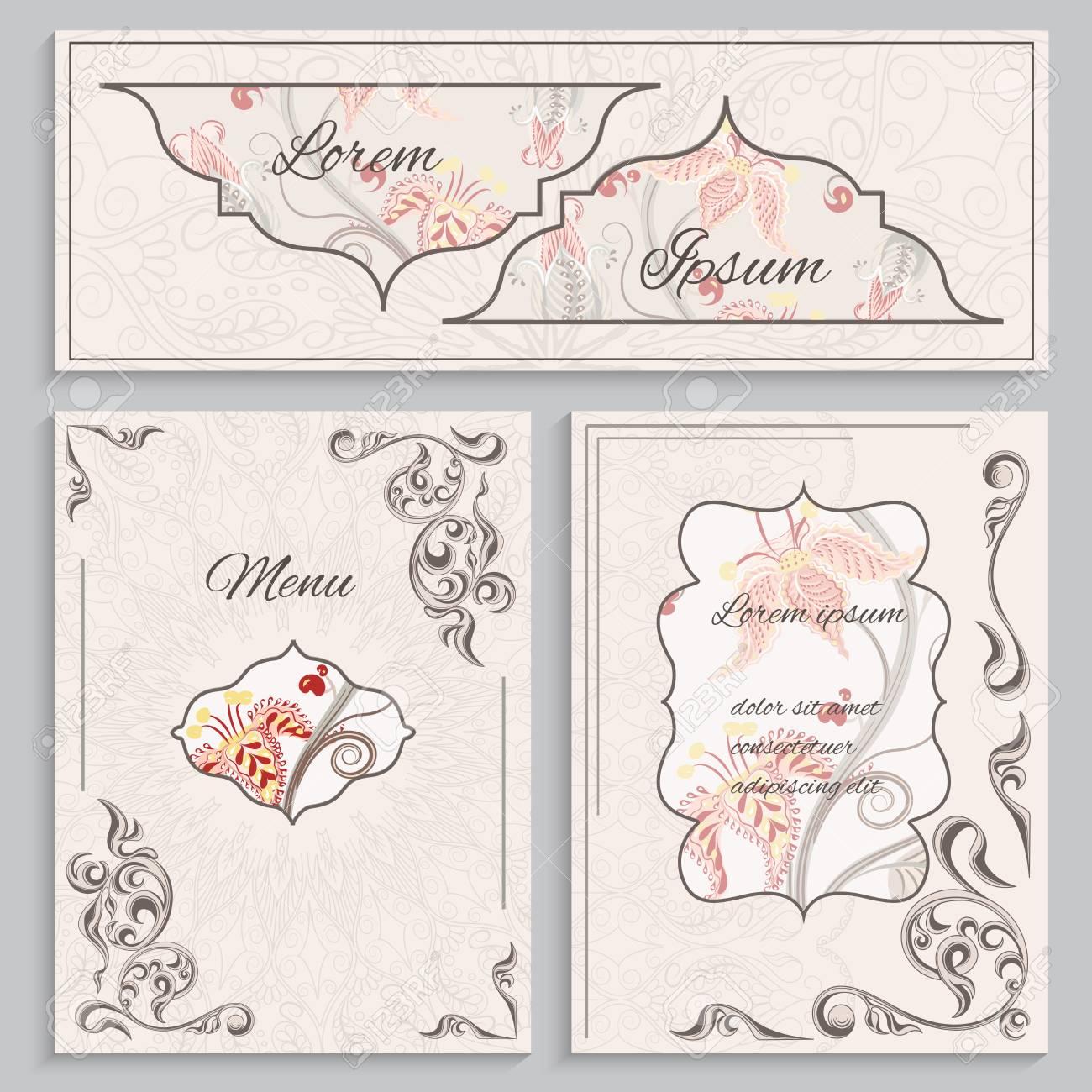 Establecer Menú Cosecha De Flores Ornamento Tarjetas E Invitaciones Menú Con Un Patrón En El Estilo Victoriano Se Puede Utilizar Para Imprimir El