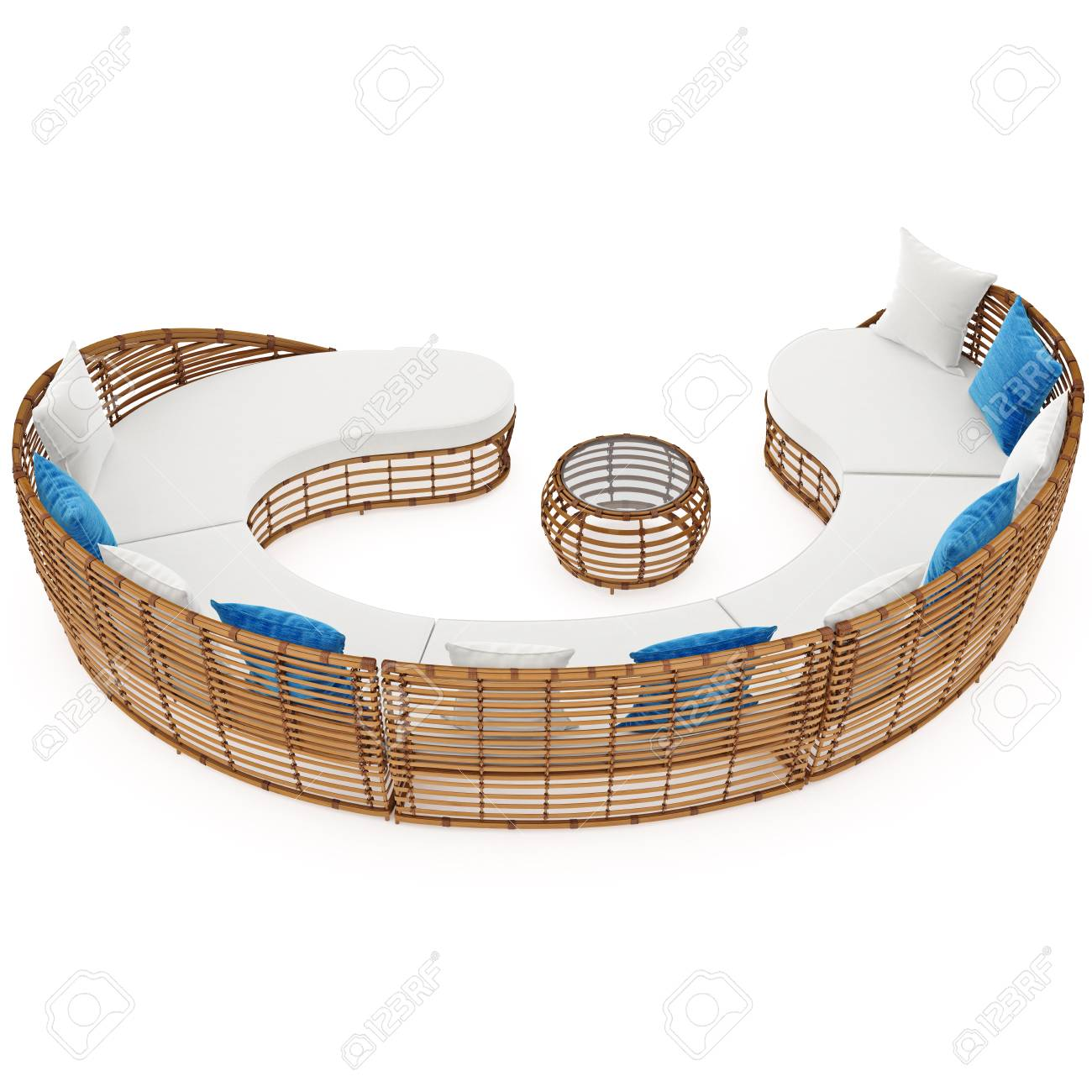 Wondrous Rattan Large Sofa Curved 3D Graphic Object On White Background Caraccident5 Cool Chair Designs And Ideas Caraccident5Info