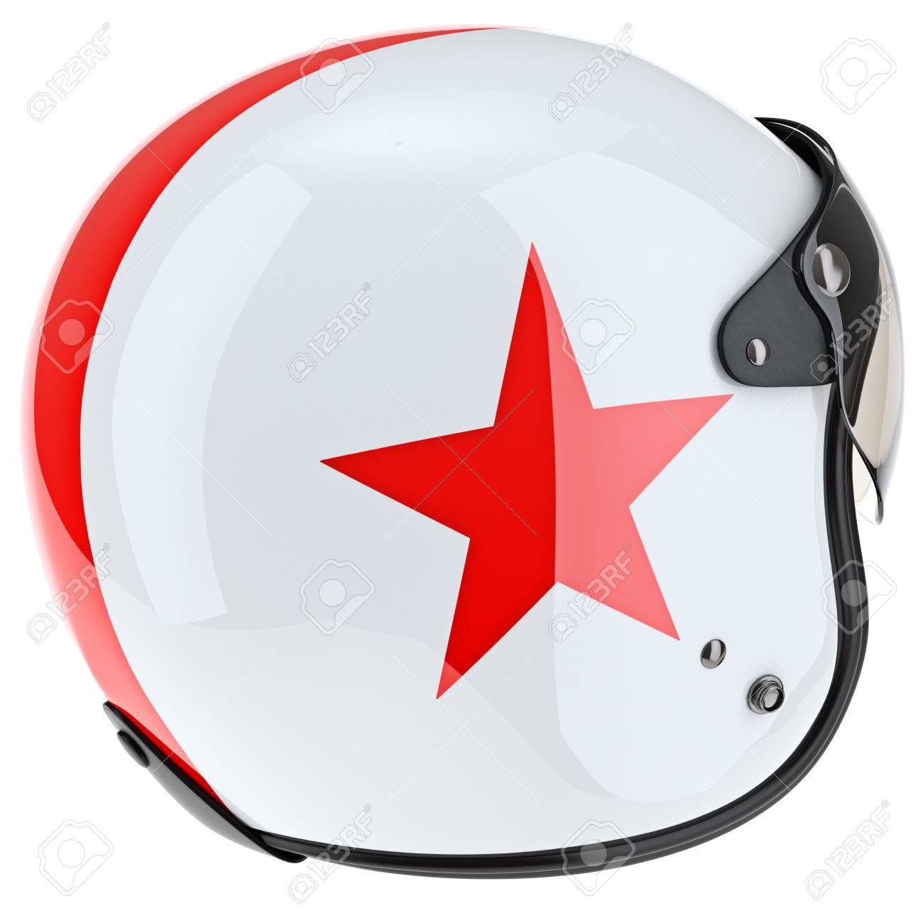 Casco protector con asterisco rojo y borde de caucho. 3D objeto gráfico en  el fondo 464bd0f31b70