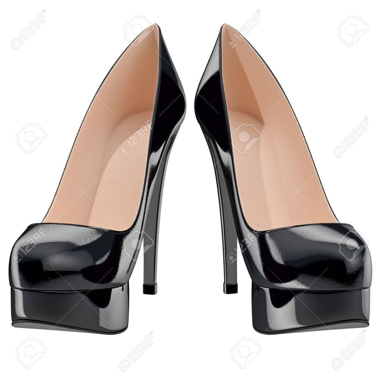 ハイヒール、正面の女性の黒のパテント レザーの靴。分離した白い背景の 3 D グラフィック オブジェクト