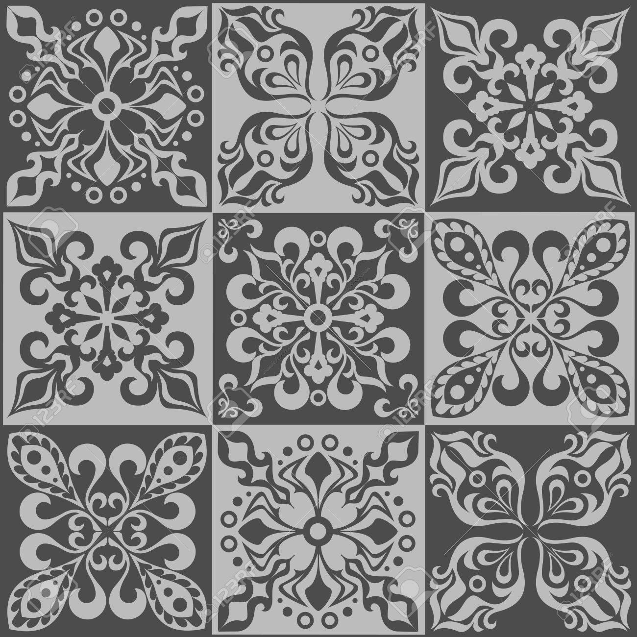 Tracería Patrón De Mosaico De Los Azulejos Marroquíes, Adornos ...