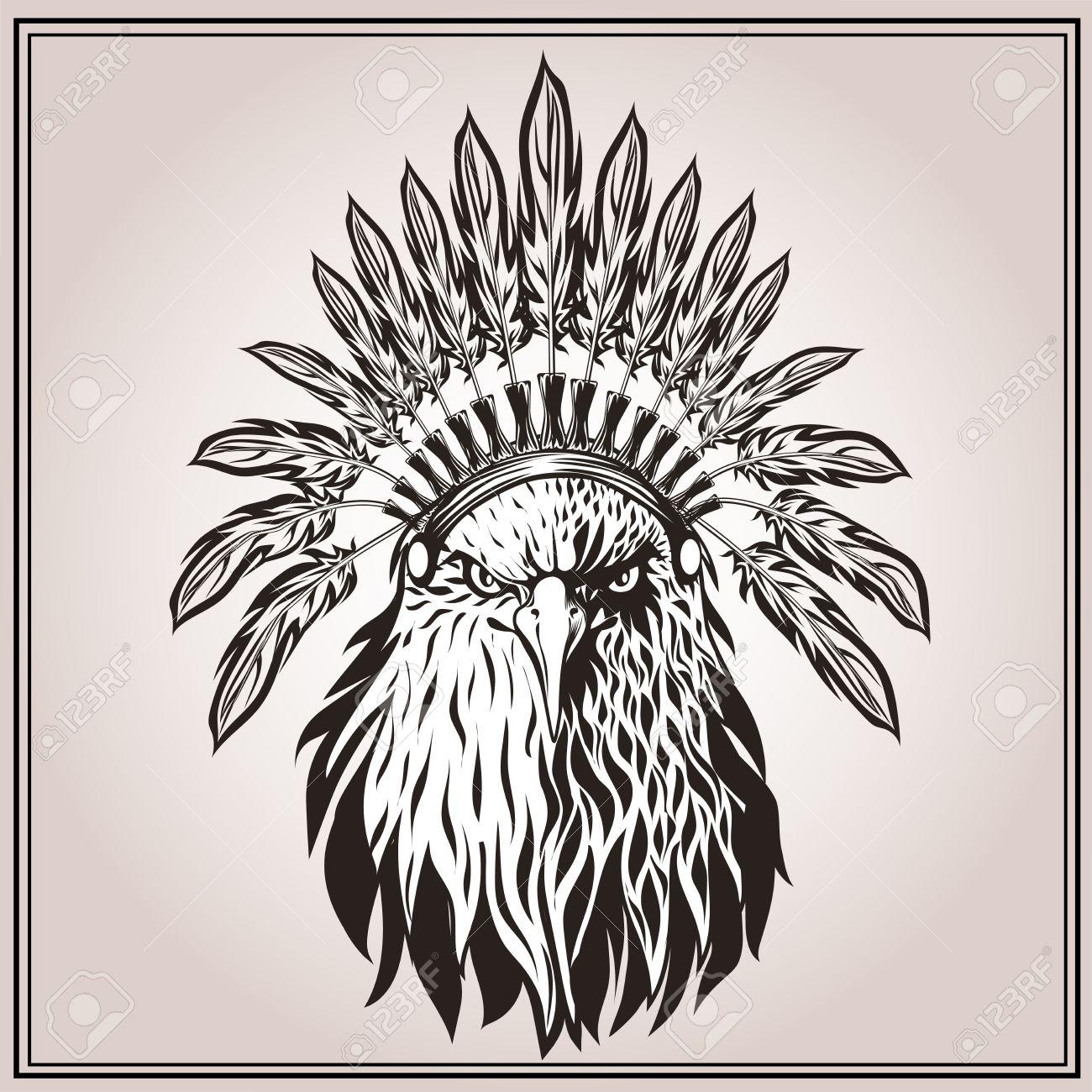 American Eagle En El Tocado Indio étnico Con Plumas. En El Estilo ...
