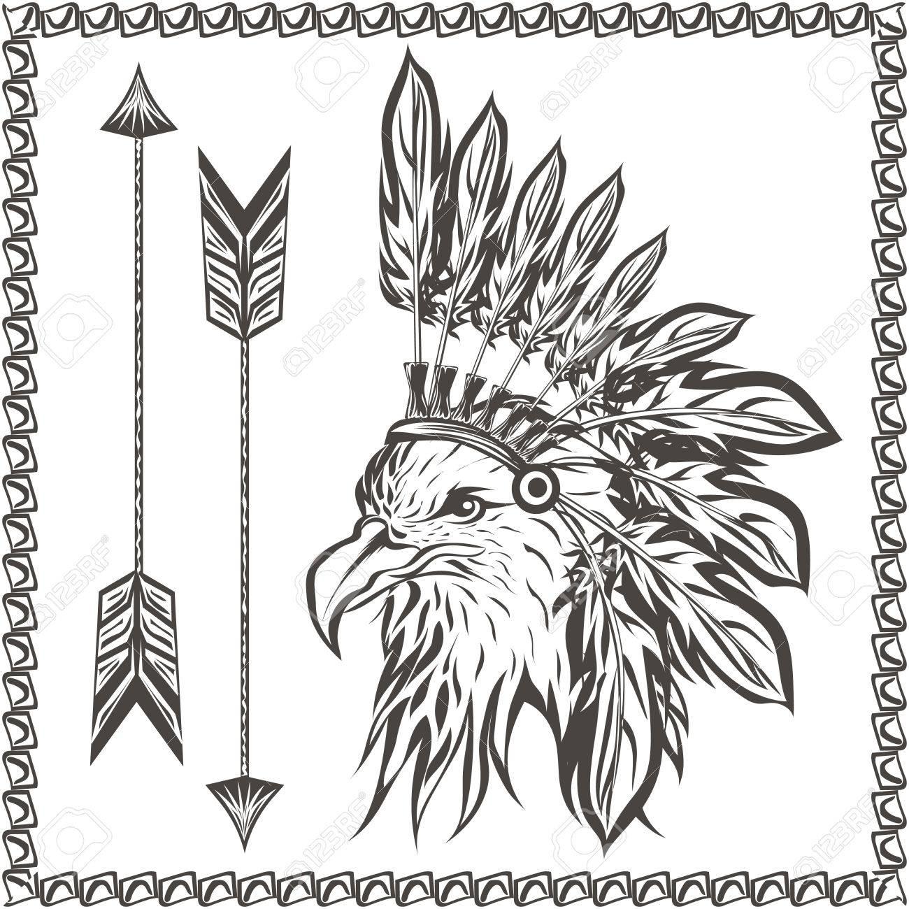 American Eagle En El Tocado Indio étnico Con Plumas Y Flechas. En El ...