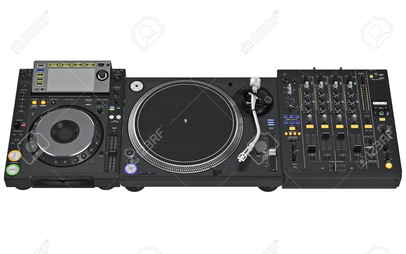 Stock Photo - Vinyl player set with table dj mixer music equipment. 3D graphic  sc 1 st  123RF.com & Vinyl Player Set With Table Dj Mixer Music Equipment. 3D Graphic ...