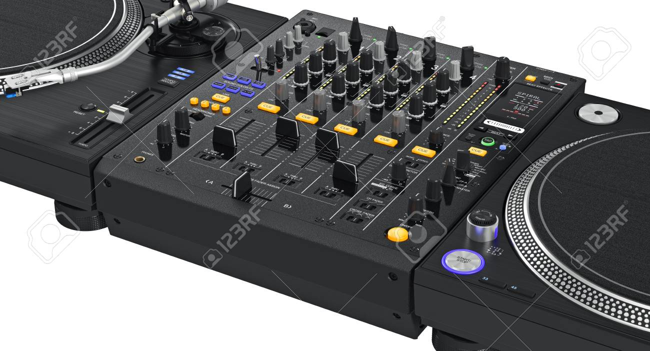 Professional dj turntable with chrome elements, zoomed view