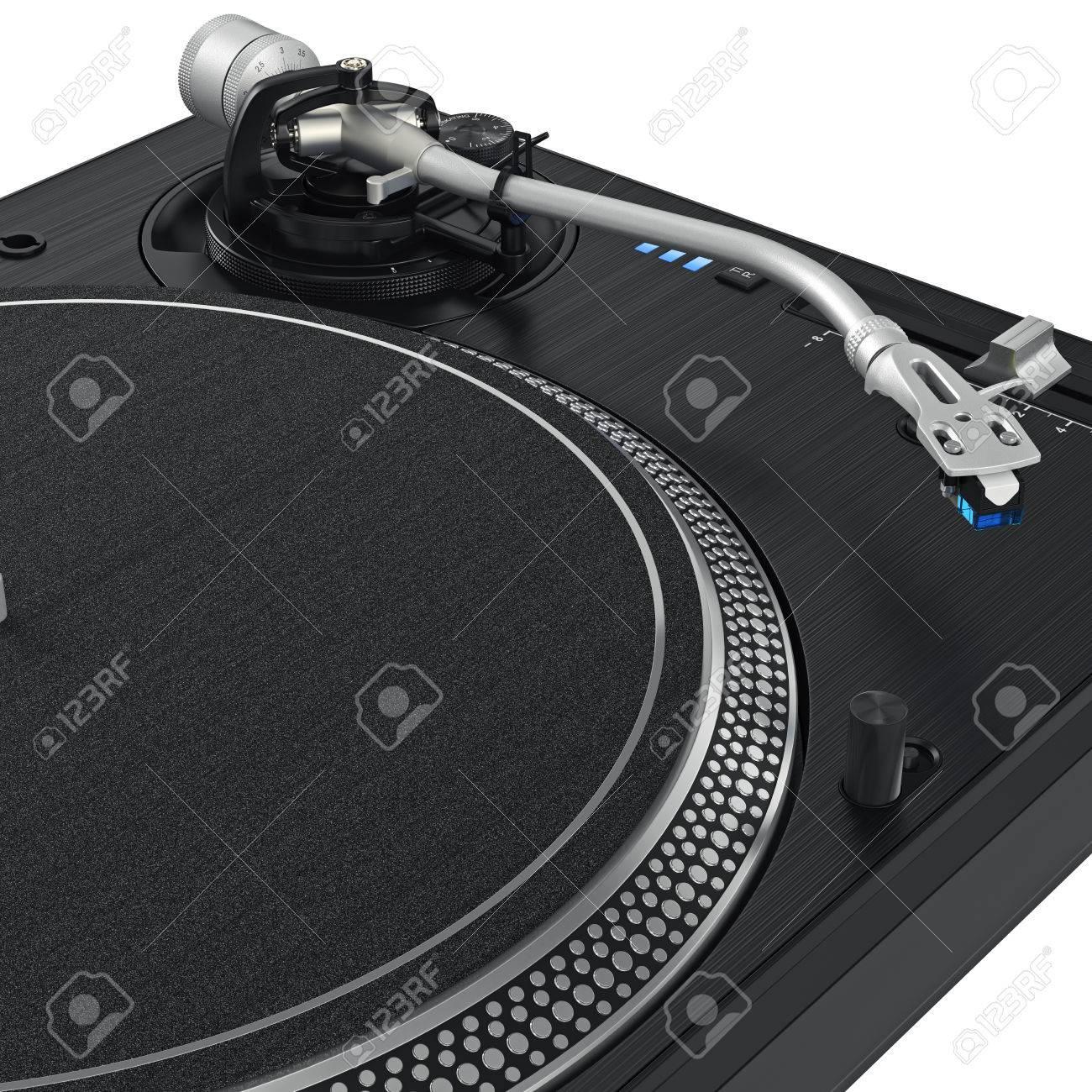 Black vinyl needle record dj turntable with chrome elements