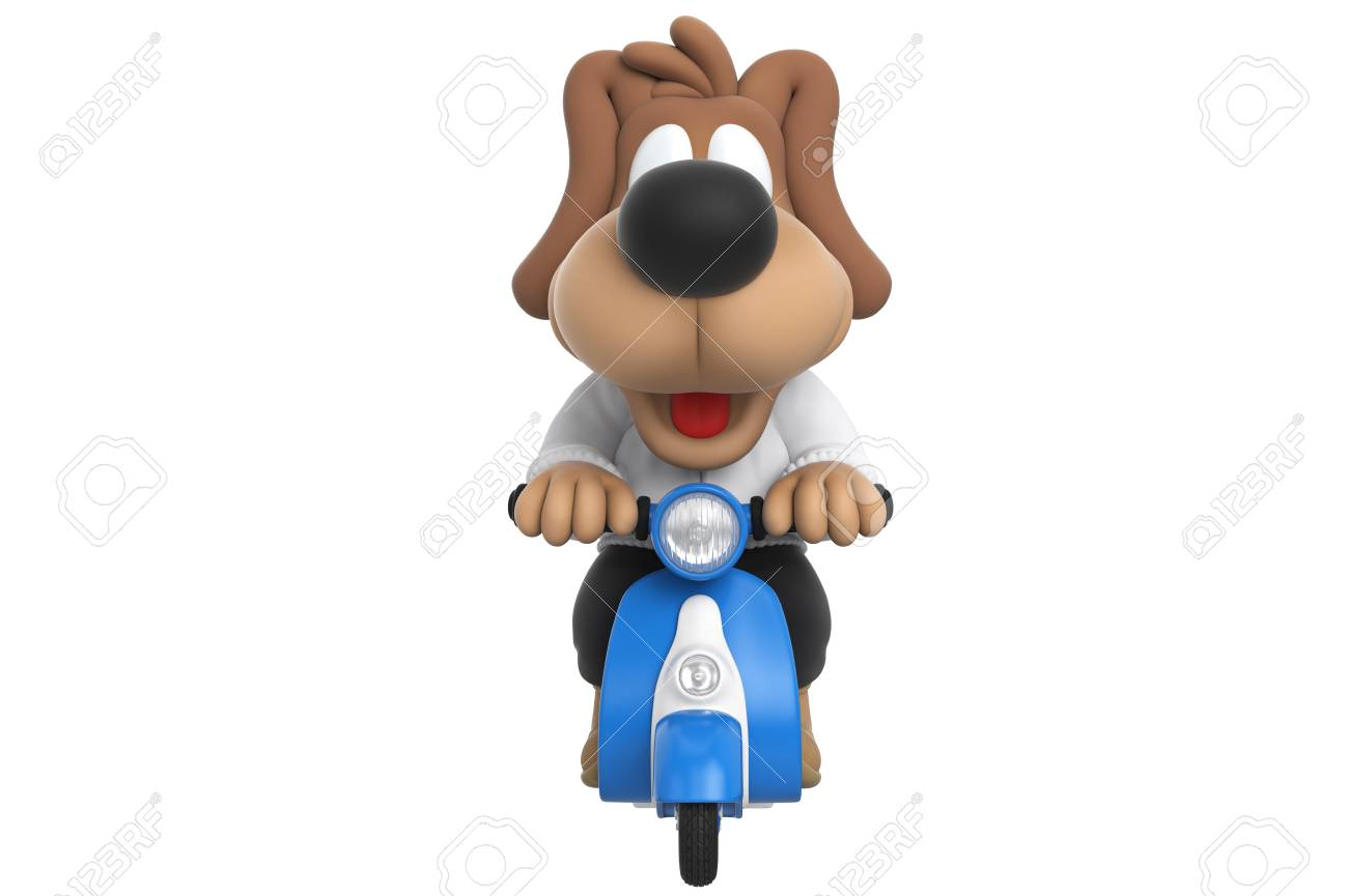 Cartoon Cute Dog On Blue Scooter Front View 3d Rendering