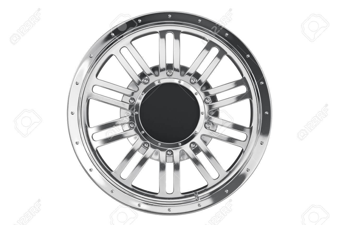 Rim wheel chrome disk, front view  3D rendering