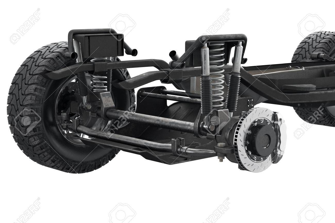 Chassis frame suspension brake disk, close view  3D rendering