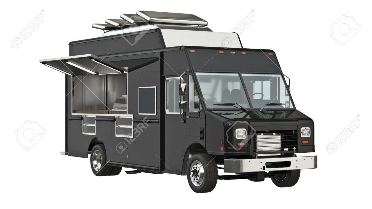 Food truck eatery cafe on wheels. 3D isolated white background - 156557752