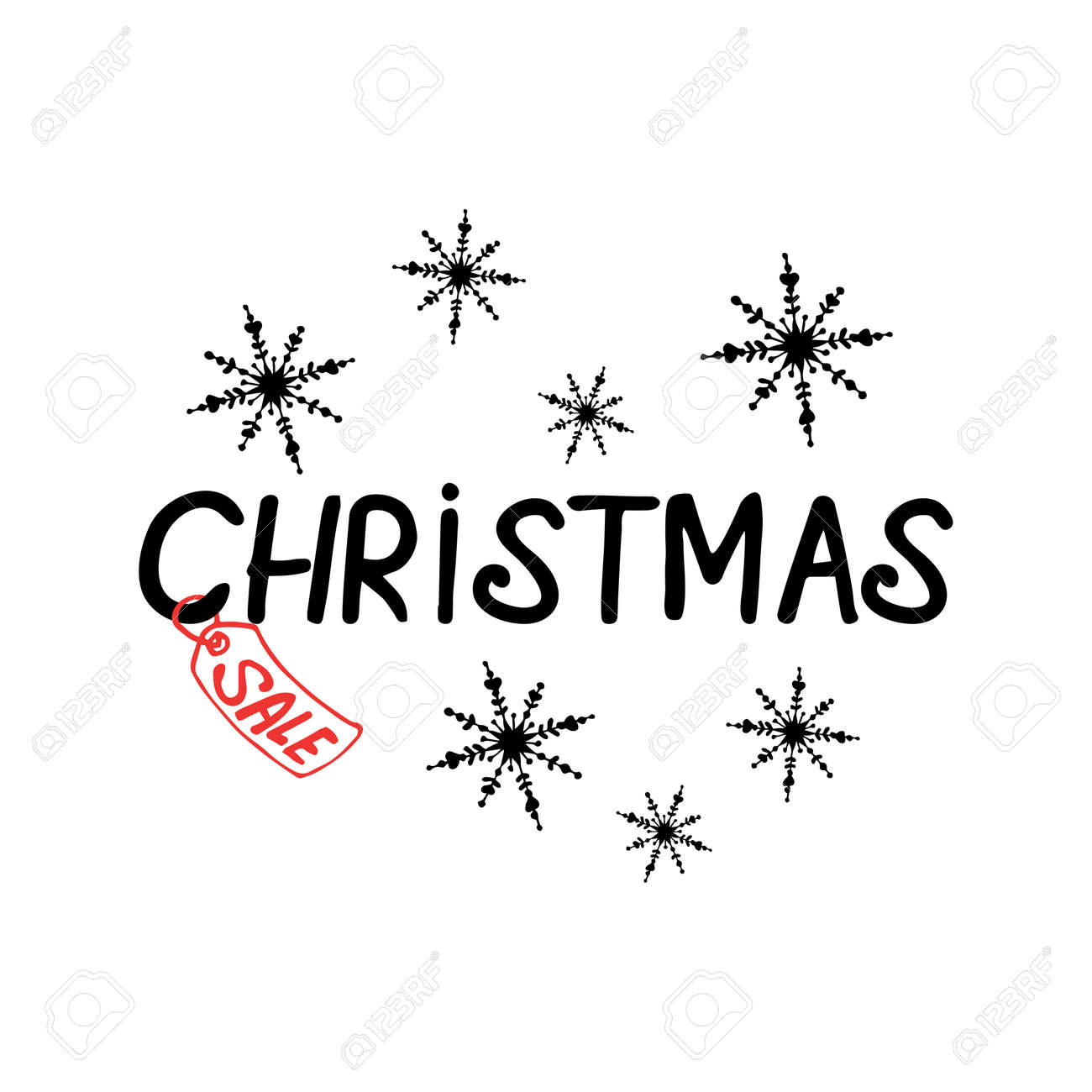 Christmas sale lettering with decor on white background - 155048325