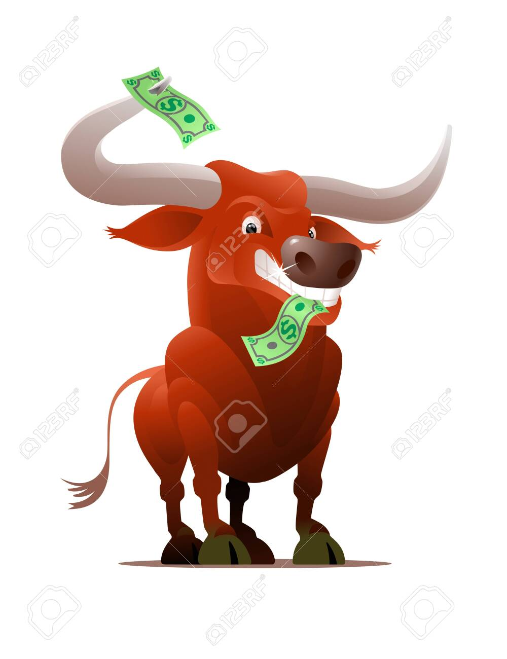 Stock Market Cartoon Bull. Red bull pictured in a cartoon style clenching a dollar banknote by tooths. - 149878906