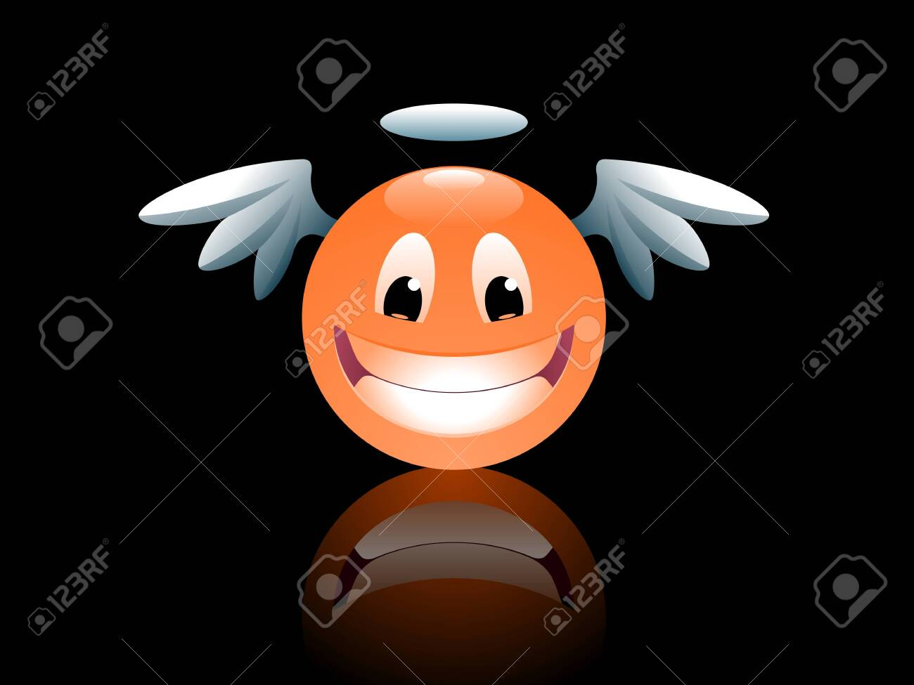 Smiley Angel. Funny cartoon smiley face looking like an angel. - 149916757