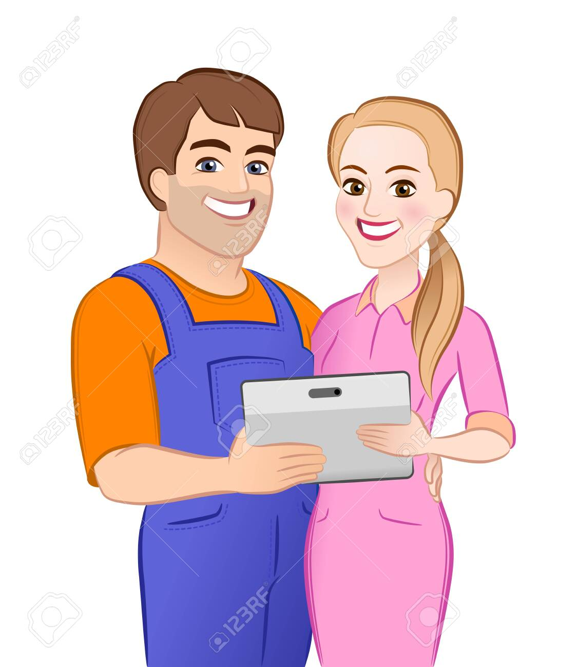 Happy Young Couple. Cartoon young male and female characters which are standing together and hugging close to each other, holding computer tablet and looking directly at us. - 150312644