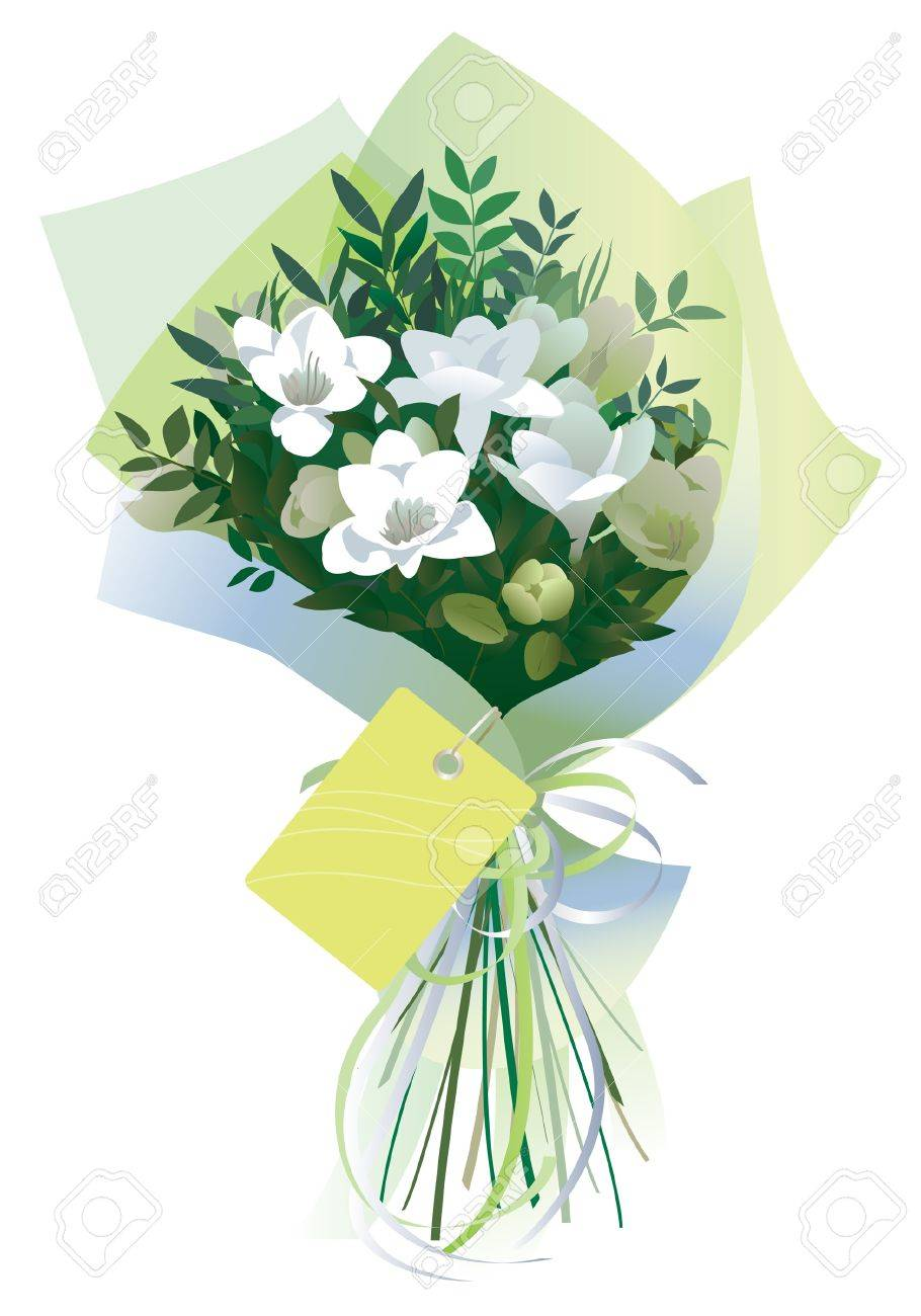 Bouquet Of White Flowers Gift Wrapped In Tissue Paper. Isolated ...