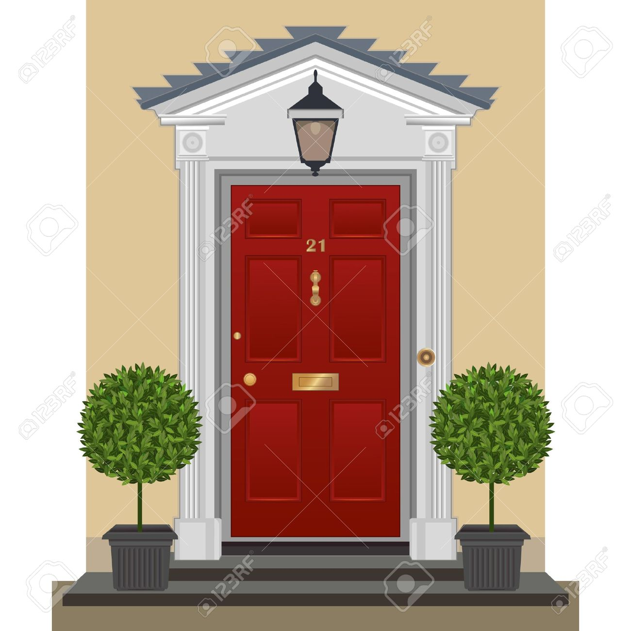 Red Painted Front Door With Brass Fittings Royalty Free Cliparts
