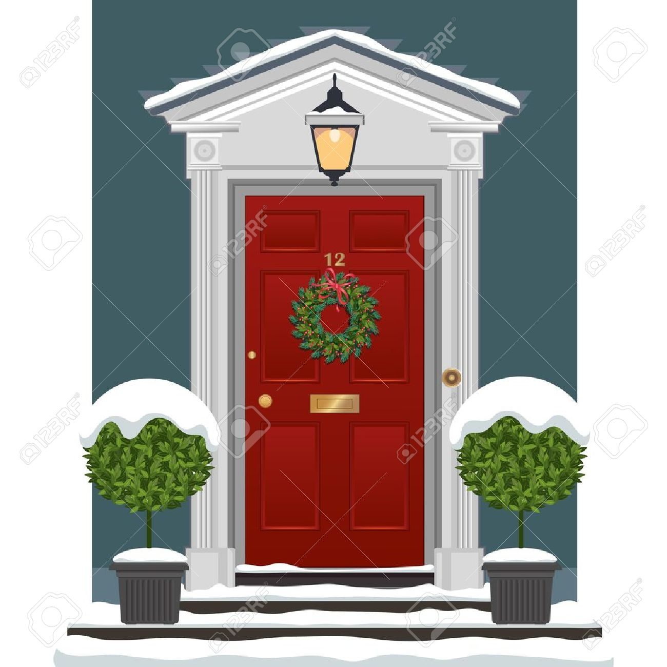 Front door christmas wreaths - Red Painted Front Door With Christmas Wreath In The Snow Stock Vector 20282294