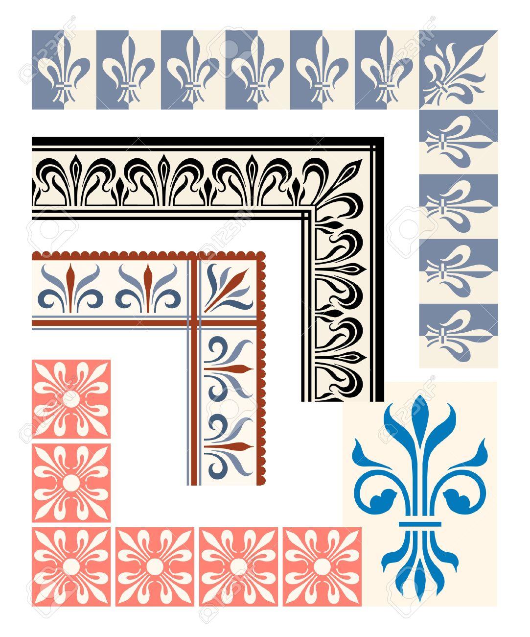 Fleur De Lys Frame And Border Set Heraldic Design Elements Royalty