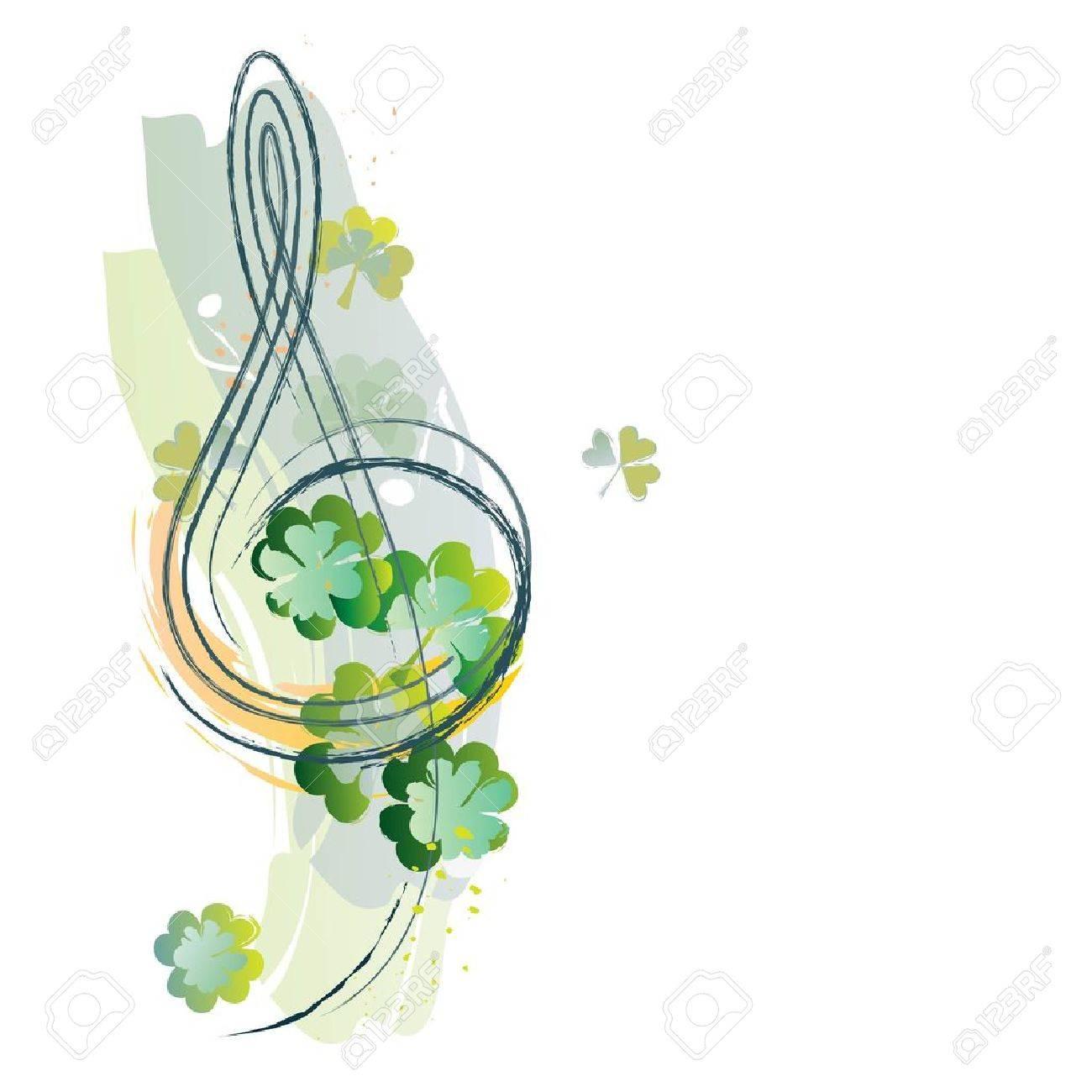 treble clef and irish shamrock royalty free cliparts vectors and