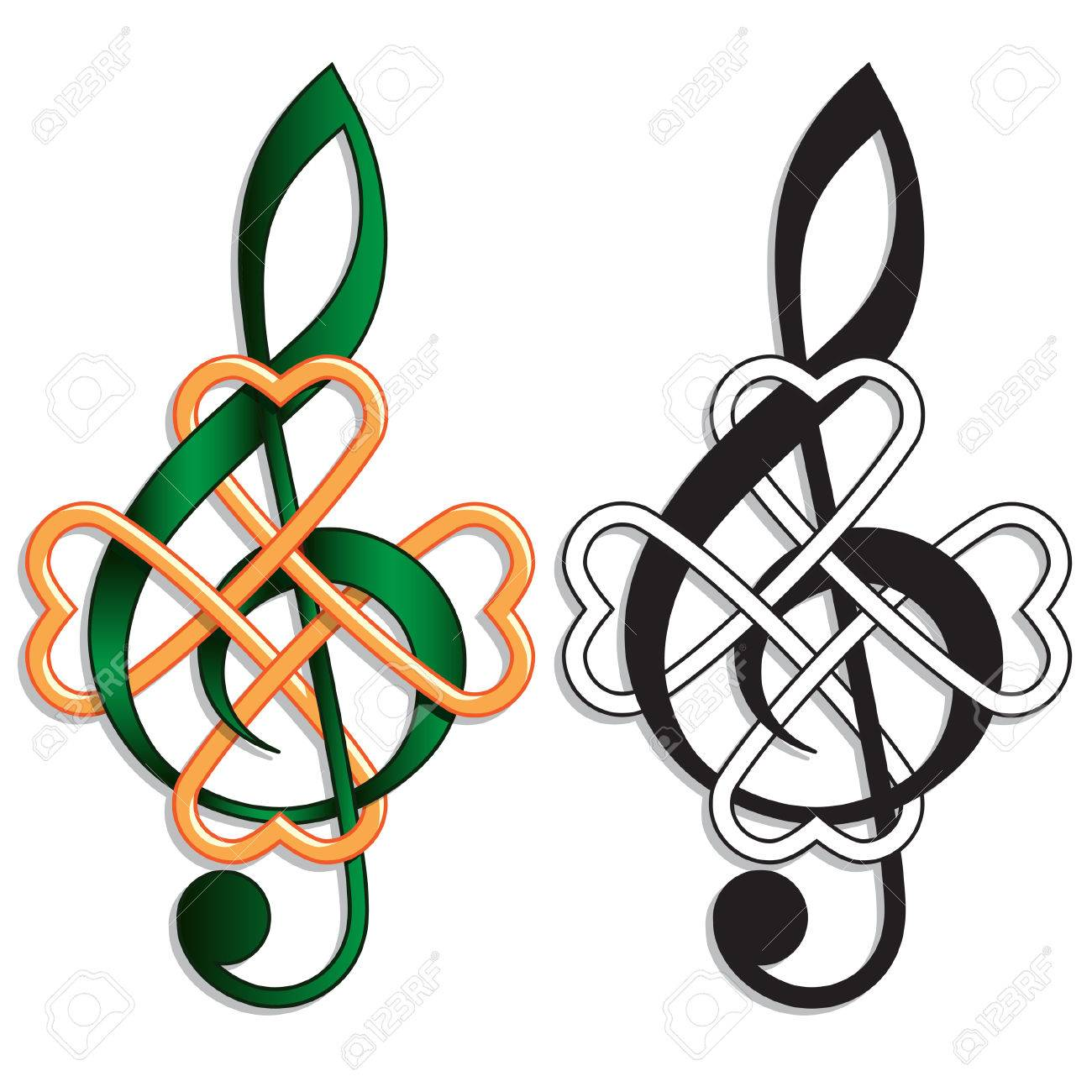 treble clef celtic knot for irish music or st patricks day theme stock vector 51335308