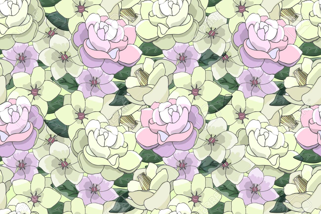 Floral Floral Pattern With Yellow And Pink Flowers For Fabric