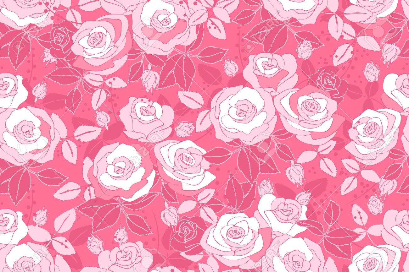 Art Floral Vector Seamless Pattern With Rose Pink And White