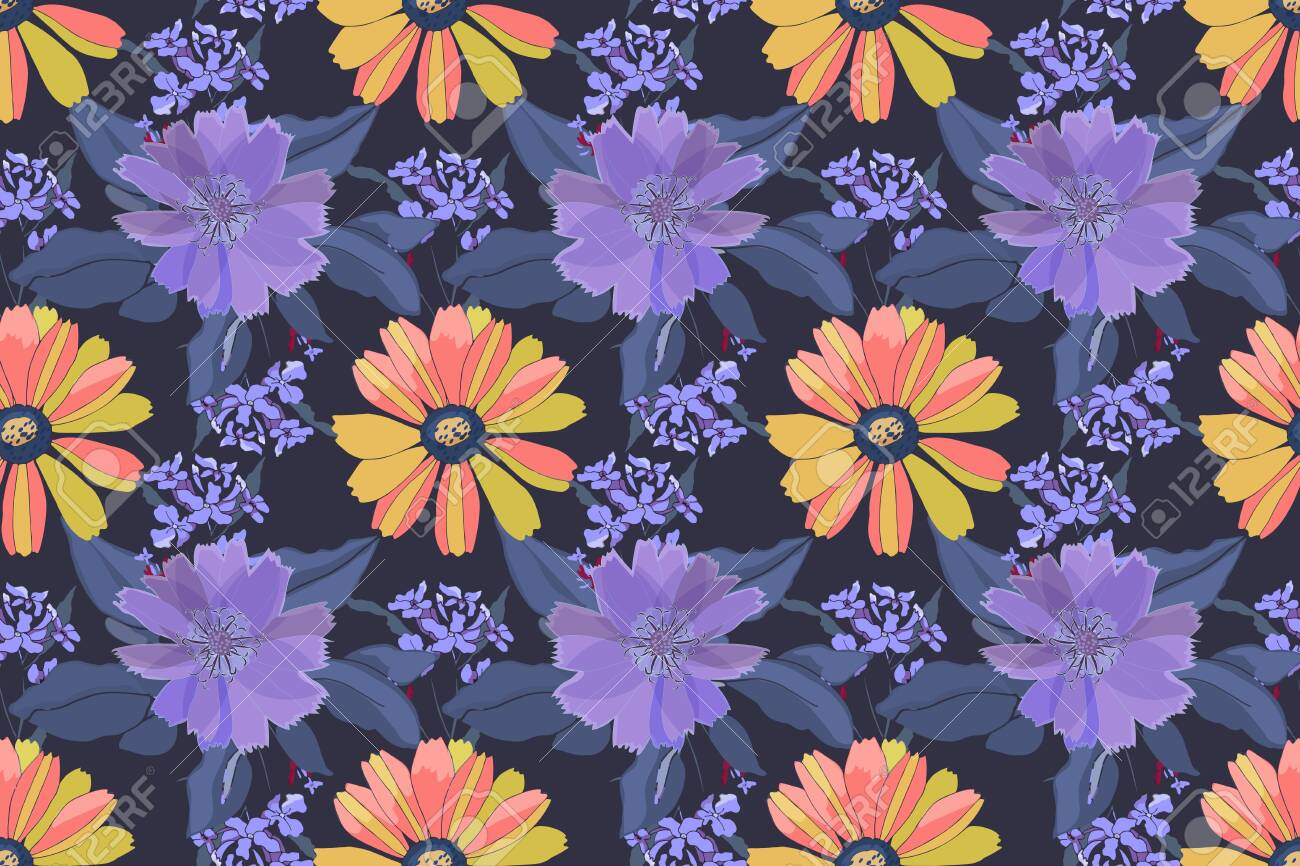 Vector floral seamless pattern. Yellow, pink, purple flowers, blue leaves isolated on blue background. - 149551514