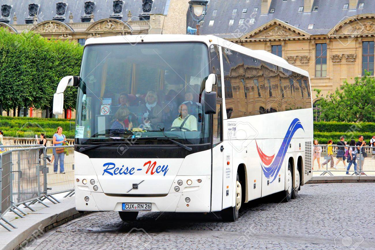 PARIS, FRANCE - AUGUST 8, 2014: Interurban coach Volvo 9900 at