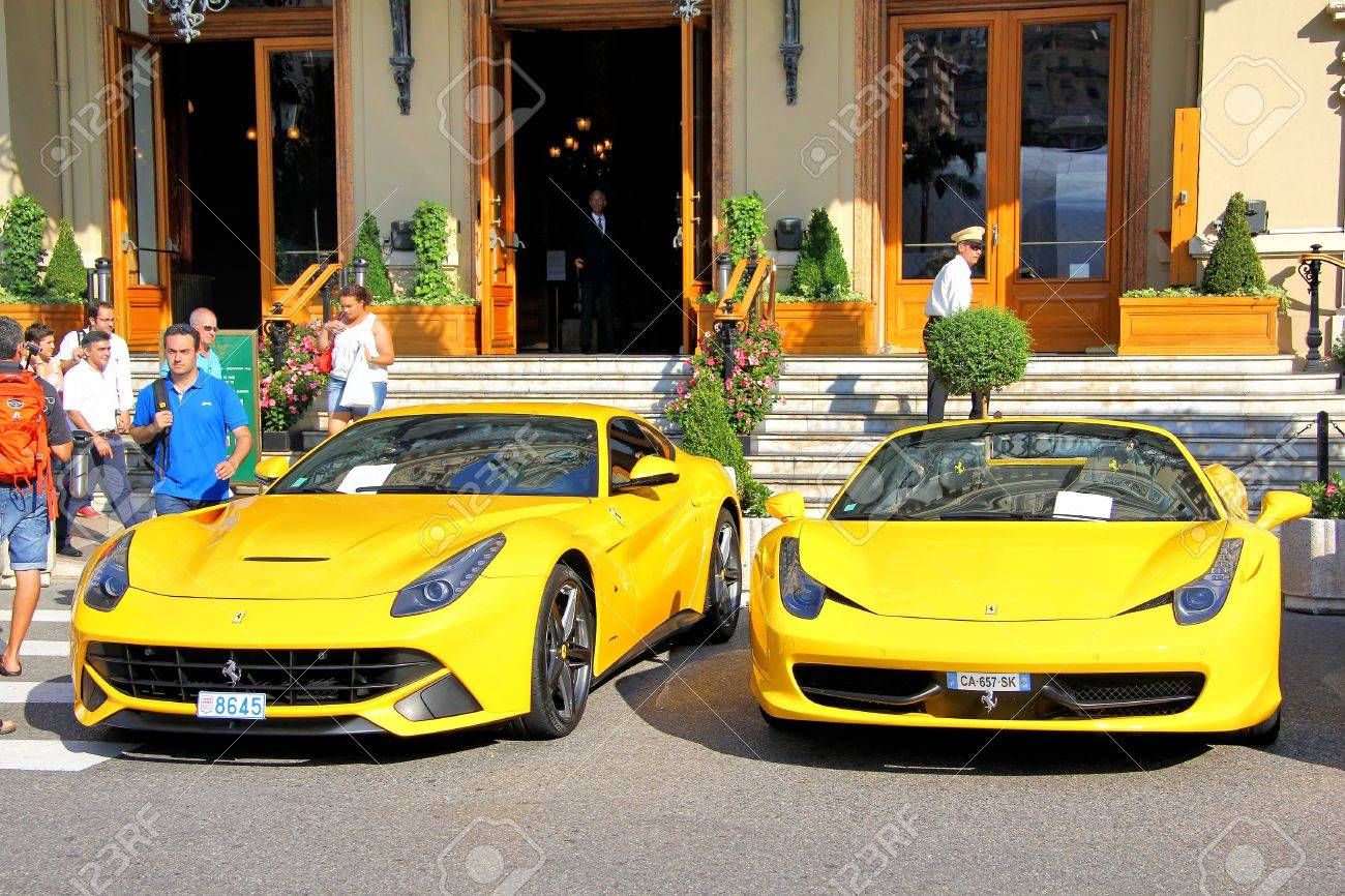 monte carlo monaco august 2 2014 yellow sportcars ferrari near the casino - Ferrari 2014 Yellow