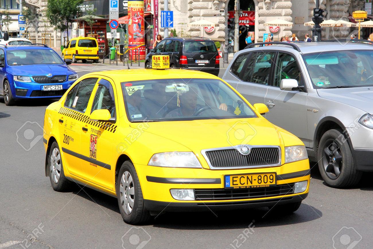 Budapest Hungary July 23 2014 Yellow Taxi Car Skoda Octavia