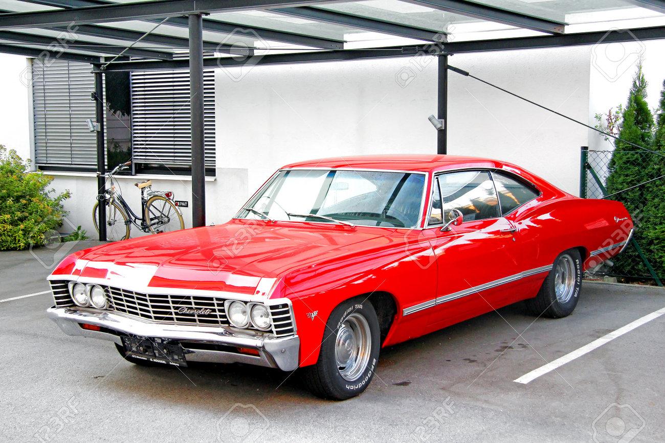 salzburg, austria - july 28, 2014: classic american muscle car