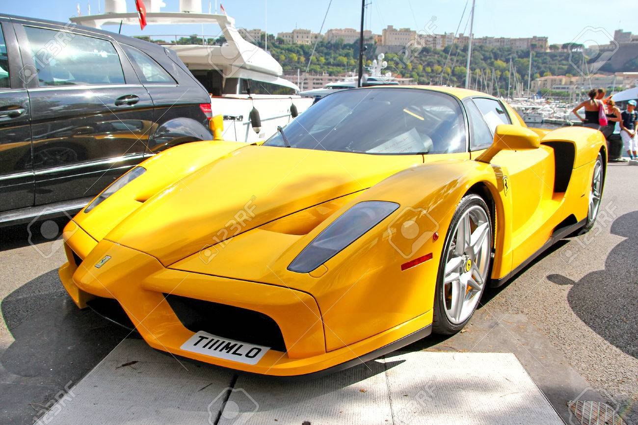 monte carlo monaco august 2 2014 yellow supercar enzo ferrari at the - Ferrari 2014 Yellow