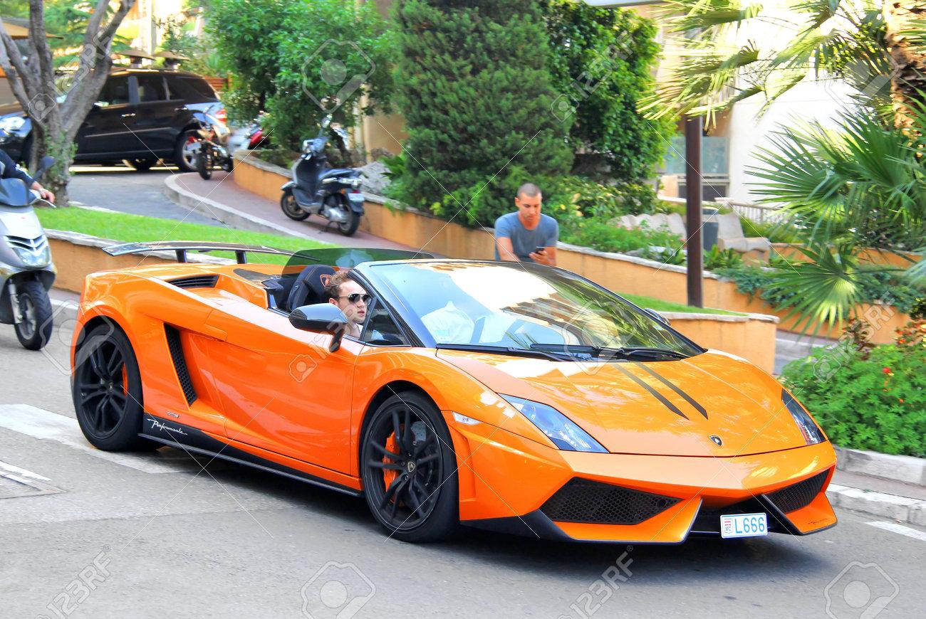 Monte Carlo Monaco August 2 2014 Orange Supercar Lamborghini