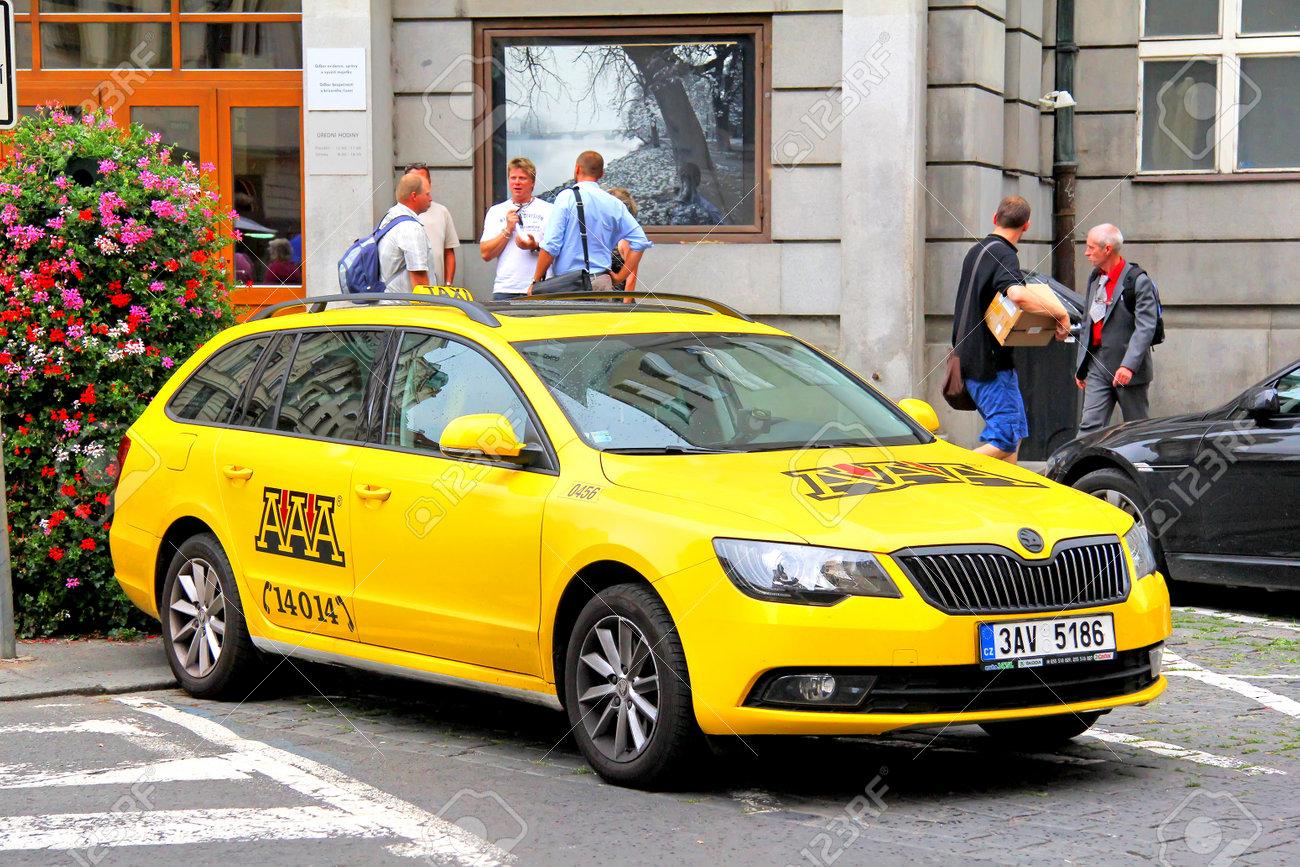 Prague Czech Republic July 21 2014 Taxi Car Skoda Superb