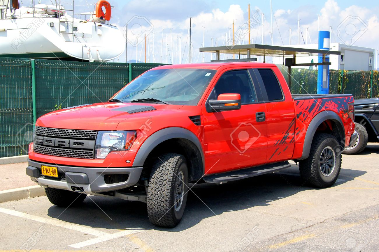 saint tropez france august 3 2014 red american pickup car ford 2014 ford f 150 limited lifted - Red Ford F150 Lifted