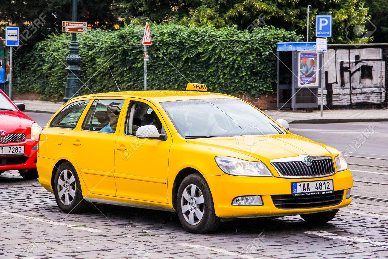 Prague Czech Republic July 21 2014 Yellow Taxi Car Skoda