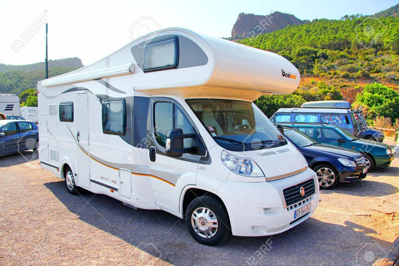 Riviera France August 3 2014 White Fiat Ducato Based Motorhome Stock Photo Picture And Royalty Free Image Image 44618571
