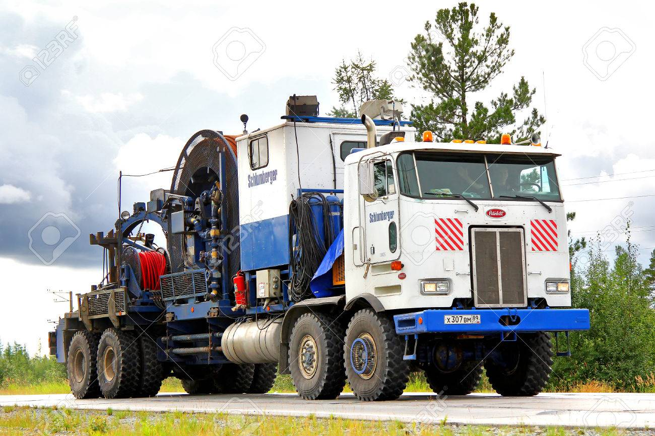 YAMAL, RUSSIA - AUGUST 5, 2012: American Peterbilt 362 gas service