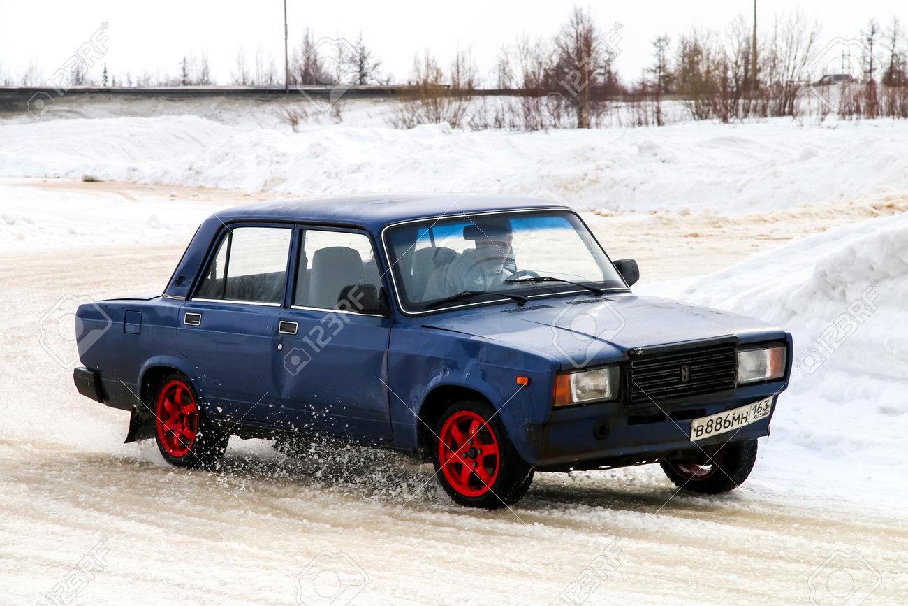 NOVYY URENGOY, RUSSIA - APRIL 10, 2016: Motor car Lada 2105 Zhiguli at
