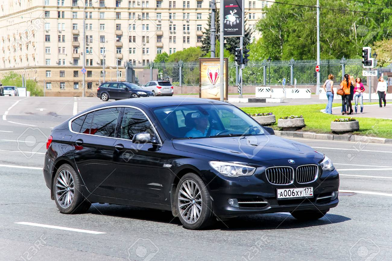 Moscow Russia May 6 2012 Black Luxury Car Bmw F07 5 Series