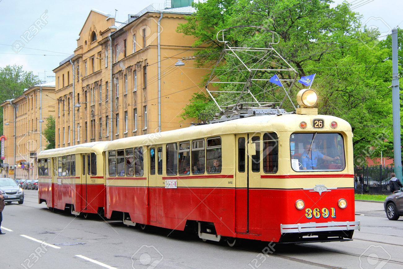 St Petersburg Russland 26 Mai Vintage Russische Straßenbahn Lm