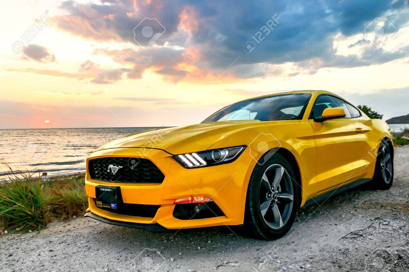 Campeche mexico may 20 2017 yellow muscle car ford mustang at the