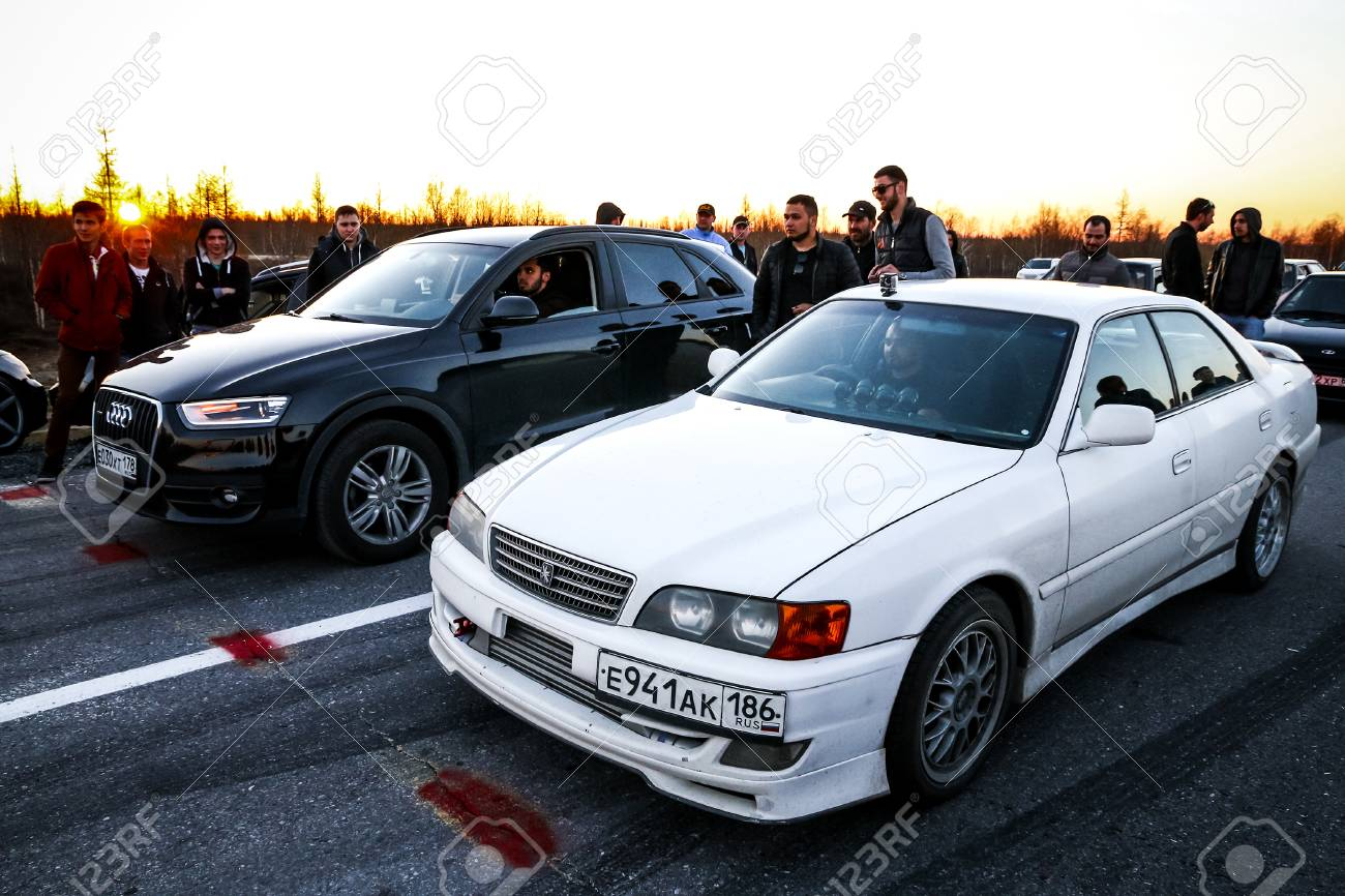 YAMAL, RUSSIA - JUNE 16, 2017: Motor Cars Toyota Chaser And Audi ...