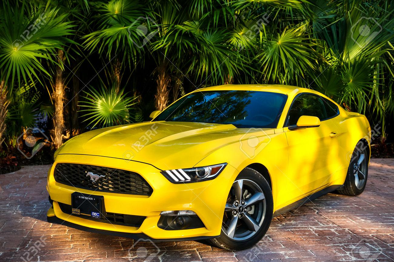 Quintana roo mexico may 16 2017 yellow muscle car ford mustang at