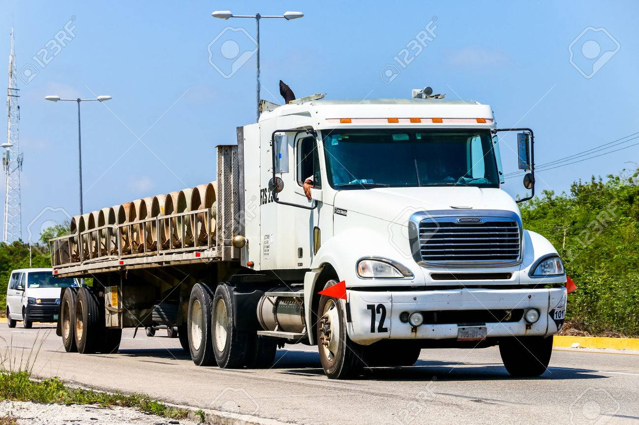 QUINTANA ROO, MEXICO - MAY 16, 2017: Semi-trailer truck Freightliner