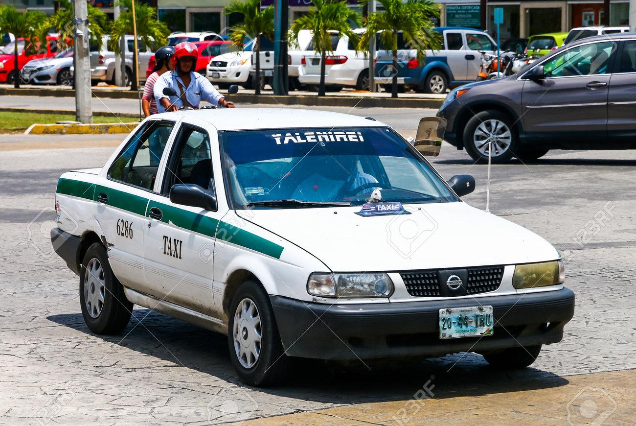 CANCUN, MEXICO - MAY 16, 2017: Motor car Nissan Tsuru in the