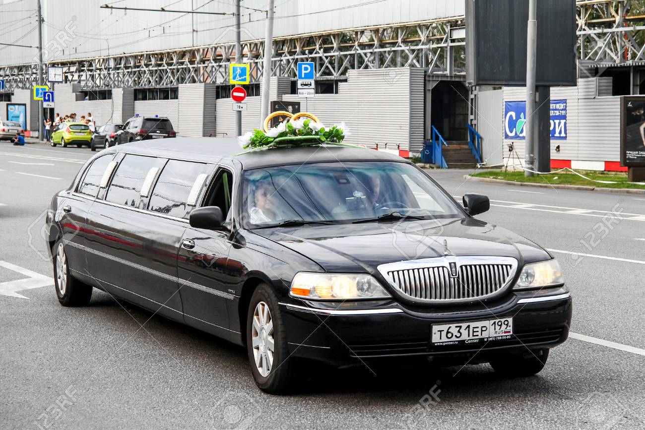 Moscow Russia July 7 2012 Black Limousine Lincoln Town Car