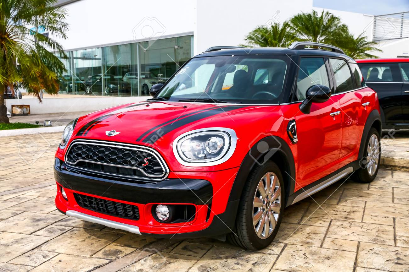 cancun, mexico - june 4, 2017: brand new motor car mini cooper