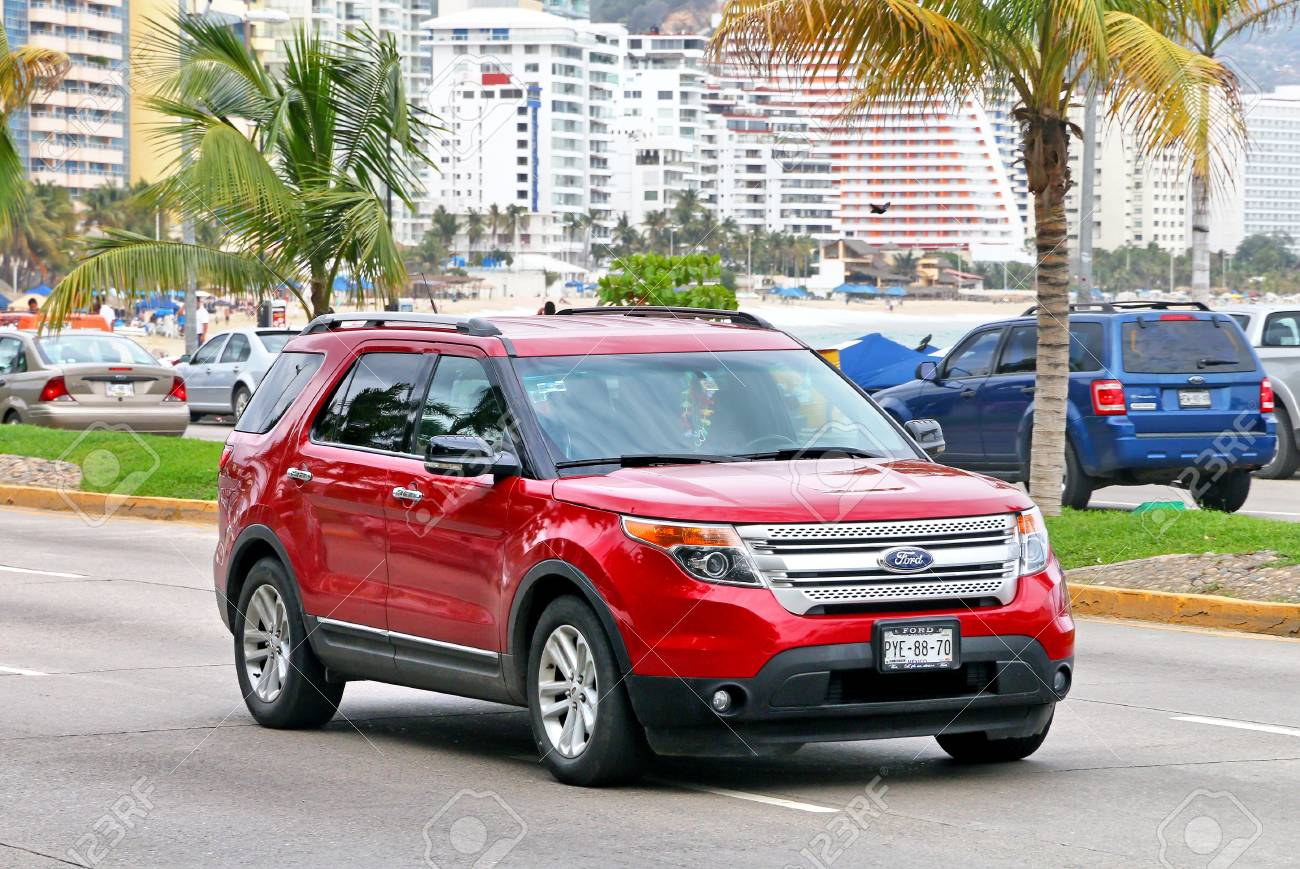 Acapulco Mexico May 30 2017 Red Motor Car Ford Explorer Stock